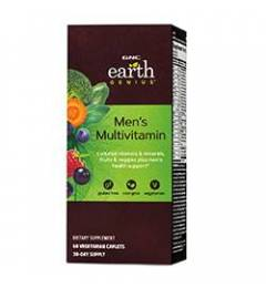 GNC Earth GeniusMens Multivitamin - With Cultured Vitamins, Minerals, Antioxidants, Lutein, Lycopene & Digestive Enzymes from Veg Sources - 60 Vegetarian Caplets